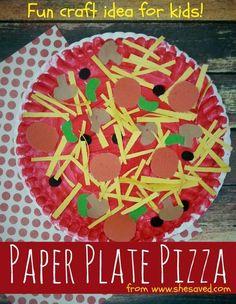 Looking for a fun craft for the kids? This Paper Plate Pizza Craft Idea is perfe… Looking for a fun craft for the kids? This Paper Plate Pizza Craft Idea is perfect for little hands and would make a wonderful preschool or kindergarten activity! Paper Plate Crafts For Kids, Spring Crafts For Kids, Easy Crafts For Kids, Craft Activities For Kids, Crafts To Do, Art For Kids, Craft Ideas, Diy Ideas, Jar Crafts