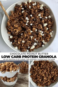 Chocolate Peanut Butter Granola - Mason Woodruff - Upgrade your yogurt or mid-day snack with this high protein, low carb chocolate peanut butter grano - Chocolate Granola, Chocolate Protein, Chocolate Peanuts, Low Carb Granola, High Protein Granola Recipe, High Protein Snacks, High Protein Low Carb, Peanut Butter Granola, Chocolate Peanut Butter