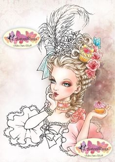 Digital Stamp - Marie Antoinette - Big Hair Rococo Beauty with Cupcake - Fantasy Line Art for Cards & Crafts by Mitzi Sato-Wiuff by AuroraWings on Etsy https://www.etsy.com/listing/192391132/digital-stamp-marie-antoinette-big-hair