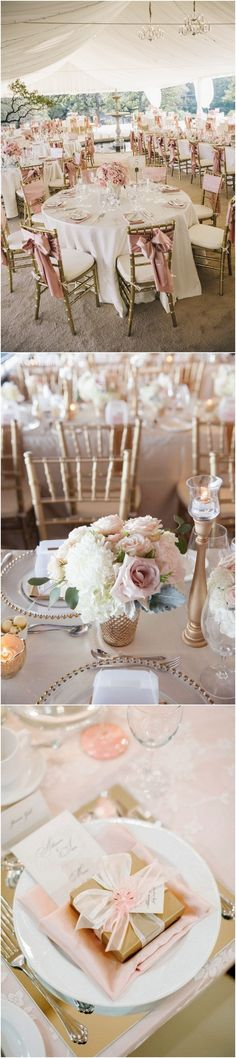 elegant gold and pink wedding table setting ideas #wedding #weddingdecor #weddingideas