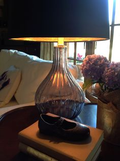 Lamp Shade With Gold Lining--add warmth to a lamp's light by lining the shade with gold paper