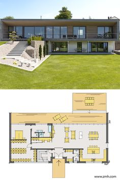 Contemporary House Plans, Modern House Plans, Modern House Design, Casas Country, Flat Roof House, Modern Properties, Hillside House, Rest House, Sims House