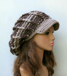 Handmade Neutral Visor Newsboy cap, woman man Slouchy Beanie, visor hat