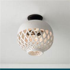 "SofL Ceramic Basketweave Ceiling Light $179 13.5""Hx11""W. 2 x 40W candelabra bulbs... Maybe a small bathroom..."
