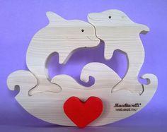 Puzzle en bois des animaux coeurs en bois dolphins amateurs saint valentin (cod. PUZ009)