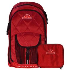 Vitalpak Medical Backpack with Removable Snap-in Essentials Kit, Red and Burgundy *** Want additional info? Click on the image.