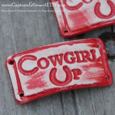 Cowgirl Up...a handmade pottery cuff bead with by CapturedMoments, $5.25