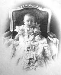 "Elisabeth Amalie Eugenie ""Sissi""  Austria (1837-assassinated 10 September 1898) wife of Emperor Franz Joseph I, as a baby."
