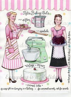 """""""Retro Baking Gals"""" Full color sticker sheet by Everyday is a Holiday"""