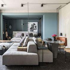 Sofá modular com tecido claro e poltronas de couro de Hayasaki arquitetura - 144055 no Viva Decora Decor, Urban Interior Design, Dream Decor, Home, Living Dining Room, Small Apartments, Loft Design, Living Decor, Home And Living