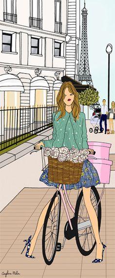 Do it In Paris by Angeline Melin Illustration Française, Illustration Parisienne, Alphonse Mucha, Art Parisien, Parisian Girl, Style Parisienne, Paris Art, Bicycle Art, I Love Paris