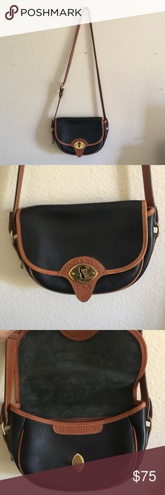 Dooney and Bourke Vintage Leather Purse The classic Dooney and Bourke style cross body black and tan leather purse. In amazing condition - you will be so impressed by this bag! Flap satchel style with metal closure and four card slots and interior zipper pocket. Exterior has another fastened pocket. Dooney & Bourke Bags Satchels