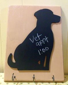 Dog Leash Holder, Dog Leash Hook, Dog Leash Hanger With Chalkboard For Vet Appointments, Dog Decor, Pet Lovers Gift, Housewarming Gift, Pets by BelleMistique on Etsy https://www.etsy.com/listing/241495530/dog-leash-holder-dog-leash-hook-dog