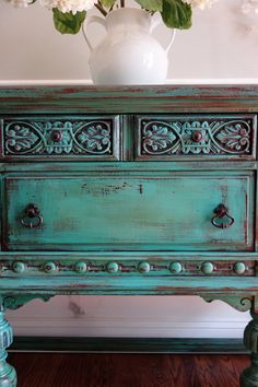 ON HOLD   Antique Hand Painted French Country Renaissance Romantic Jacobean  Style Turquoise Buffet Sideboard Cabinet