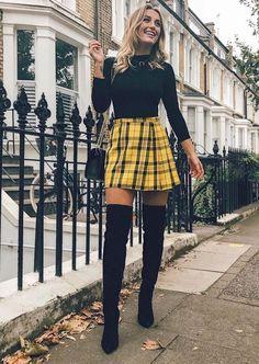Charming mini skirt for teen fashion in autumn . - Charming mini skirt for teen fashion in autumn … – Women Fashion – Summer Outfits Women, Winter Fashion Outfits, Look Fashion, Spring Outfits, Teen Fashion Fall, Womens Fashion, Fashion Design, Yellow Plaid Skirt, Plaid Skirt Outfits