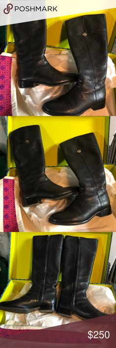 ca5e36332a98 Tory Burch Jolie Riding Boot Tory Burch Jolie Riding Boot in Black shiny  leather. Worn