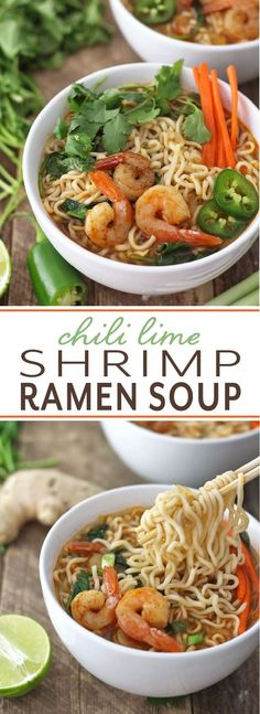 Chili Lime Shrimp Ramen Soup Perfect recipe to satisfy those adult cravings for ramen! Easy to make with vegetable broth, chili seasoning, shrimp and lots of ramen noodles. Sopa Ramen, Ramen Soup, Noodle Soup, Ramen Bar, Soup Broth, Ramen Recipes, Asian Recipes, Cooking Recipes, Healthy Recipes