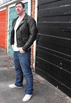 Vintage Black Leather Biker Jacket - Top London make and oh so George Michael!
