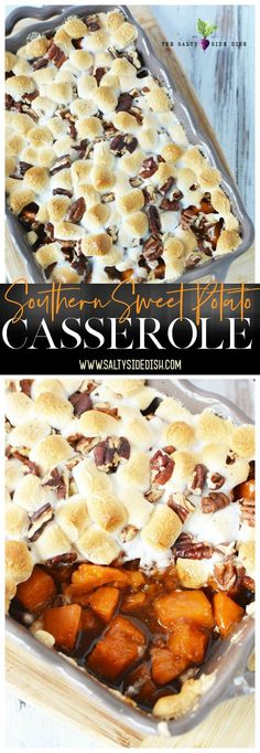 Sweet Potato Casserole is an easy and delicious addition to any southern table. Covered in melty marshmallows and the sweet taste of brown sugar and crunchy pecans, this is a perfect baked casserole recipe. #recipe #sweetpotatoes #sidedish Easy Casserole Recipes, Sweet Potato Casserole, Sweet Potato Recipes, Holiday Side Dishes, Thanksgiving Side Dishes, Thanksgiving Recipes, Tasty, Yummy Food, Delicious Recipes