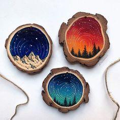 Wood Slices – Set of 45 – Tik wood art Wood Slice Crafts, Wood Burning Crafts, Wood Log Crafts, Wood Painting Art, Wood Art, Wood Wood, Diy Wood, Stone Painting, Holiday Crafts