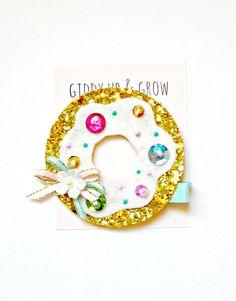Glitter Hair Clip - Doughnut Hair Clip, Birthday Hair Clip, Giddy Up and Grow