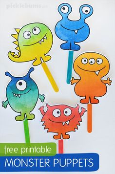 Have fun playing with these cute, friendly, little monster puppets, and singing a monster song or two! Monster Activities, Monster Crafts, Fun Activities For Kids, Halloween Crafts For Kids, Halloween Activities, Halloween Fun, Printable Crafts, Free Printables, Monster Songs