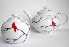 Cardinal Tea Pot & Matching Sugar Dish-2 piece set by Mary Elizabeth Arts