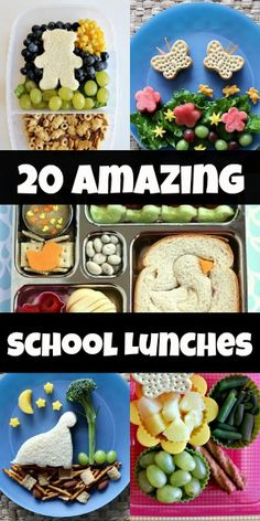 These bento boxes for kids are absolutely darling! Would you make them for your kids? | 20 Amazing School Lunches for Kids via Blissfully Domestic