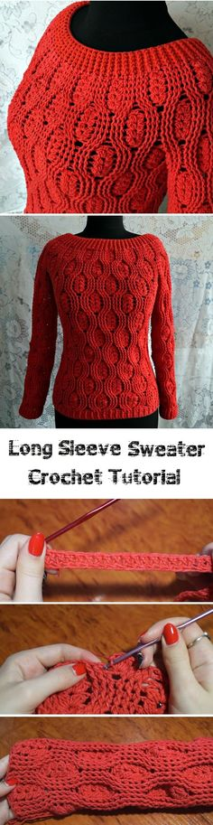 Crochet Long Sleeve Sweater As weather gets colder and colder each and every day, we have to crochet ourselves and our family members some warm stuff in order to keep t Coat Patterns, Knitting Patterns, Crochet Patterns, Crochet Design, Pullover Design, Sweater Design, Crochet Cardigan Pattern, Crochet Shawl, Moda Crochet