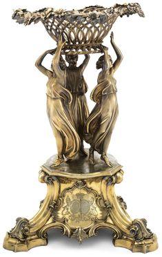 A VICTORIAN SILVER-GILT CENTREPIECE, EDWARD BARNARD & SONS, LONDON, CIRCA, 1843. Vases, Urn Vase, Vintage Silver, Antique Silver, Art Nouveau, House Ornaments, Bronze, Objet D'art, Art Object