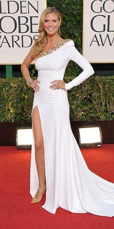I love Heidi Klum's one shoulder white dress at the Golden Globes
