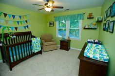 Baby animal nursery in blue and green