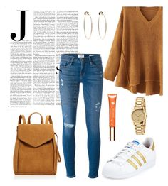 """""""J."""" by gatocat ❤ liked on Polyvore featuring WithChic, Loeffler Randall, adidas, Frame Denim, Vanity Fair, Bebe, Gucci and Clarins"""
