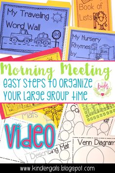 VIDEO TUTORIAL: Kim Adsit from The KinderGals shares how she does Morning Meetings and easy steps to organize large group carpet time. Great for kindergarten teachers! Kids Learning Activities, Kindergarten Activities, Classroom Activities, Primary Teaching, Teaching Phonics, Teaching Ideas, Classroom Supplies, Classroom Organization, Guided Reading