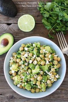 Chickpea, Avocado, and Feta Salad ~ only takes 5 minutes to make. It's perfect for a quick lunch, dinner, or snack!