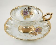Tea Cup and Saucer Vintage 1950s Reticulated Porcelain