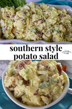 this potato salad recipe is loaded with boiled eggs, celery, bacon and topped off with some sriracha! delicious summer side dish recipe that you need at all your summer bbqs! # recipes for dinner Best Ever Potato Salad, Best Potato Salad Recipe, Easy Potato Salad, Easy Salad Recipes, Side Dish Recipes, Potato Salad With Egg, Potluck Recipes, Potato Salad With Vinegar, Loaded Potato Salad