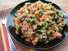 Southwestern quinoa salad. I served this cold, but it would be great hot too!