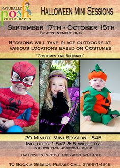Halloween Mini Sessions at Naturally Posh Photography!!!
