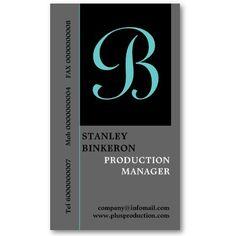 Elegant black grey turquoise with #monogram plain #businesscards.