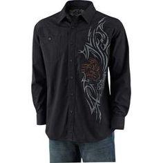 Men's Razors Edge Slim Button Down Black Shirt  deergear.com #LegendaryWhitetails