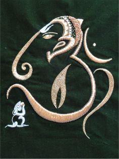 Ethnic AUM Embroidery Painting, Indian OM Ganesha Fibre Art.Vinayagar Wall Tapestry. Yoga room OM Wall Hanging. Indian, ethnic. By Artikrti