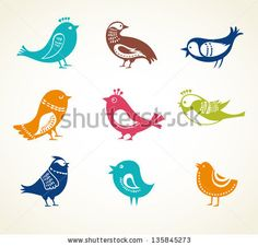 set of cute decorative birds - stock vector