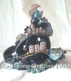 """""""IL REGNO""""""""  - Ceramica dorata - Altezza cm.19 ca. di Ilaria Golzio"""