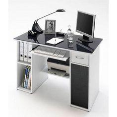 Max White Finish Computer Desk With Dark Grey Glass Top
