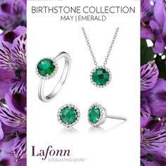 May Birthstone Emerald Jewelry by Lafonn.  Ring, Earrings, and Necklace in Lab Grown Emerald and Simulated Diamonds in Platinum-Bonded Sterling Silver, from $120.
