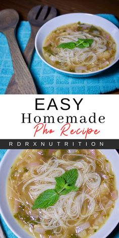 An easy homemade pho recipe. How to make your own pho. Healthy Soup Recipes, Cooking Recipes, Flour Recipes, Pho Recipe Easy, Gluten Free Pho Recipe, Best Pho Recipe, Comfort Food, Asian Cooking, Soups