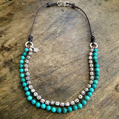 """Turquoise Necklace Multi Strand, Rustic Silver, Knotted Bohemian Jewelry """"Boho Chic"""""""