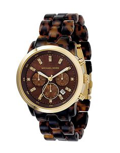 Michael Kors Large Round Acrylic Tortoise Watch ahhh I need this!!