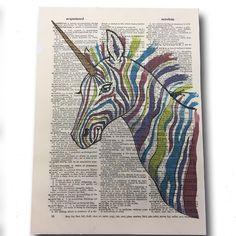 Rainbow unicorn art print from Quirks - Williamsburg, Virginia Art Gallery Unicorn Art, Rainbow Unicorn, Framed Wall Art, Canvas Wall Art, Framed Art Prints, Wall Art Prints, Williamsburg Virginia, Modern Wall Art, Moose Art